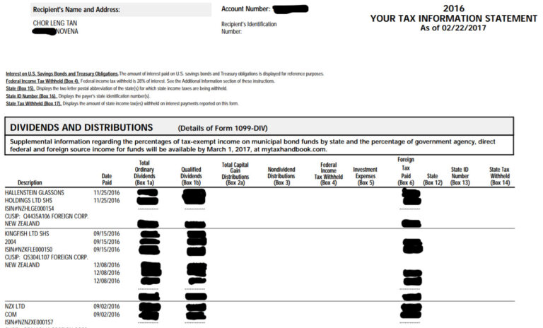 Peter's tax information statement
