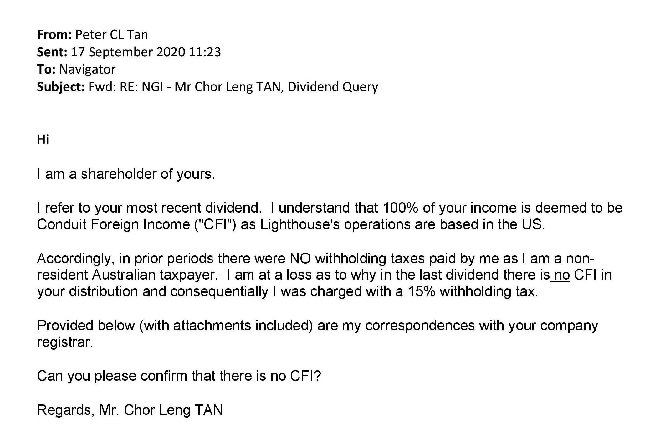 Peter's email to NGI management re: dividends Sep 2020